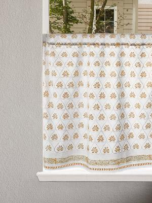 Bridal Veil ~ White Gold Kitchen Cafe Curtain