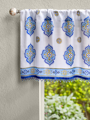 Casablanca ~ Moroccan Style Inspired White Blue Print Valance