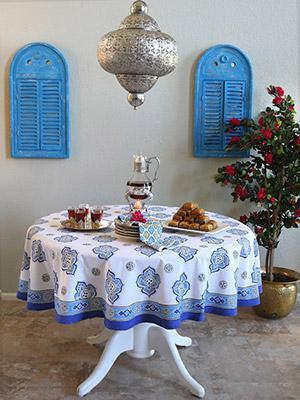 Casablanca ~ Moroccan Style White Quatrefoil Round Tablecloth