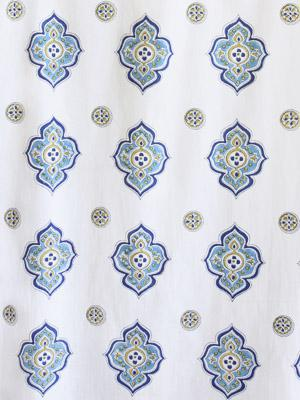 Casablanca ~ Moroccan Inspired White and Blue Fabric Swatch
