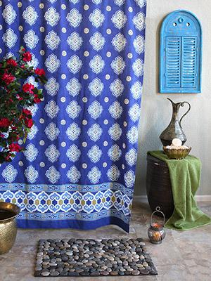 Casablanca Blues~ Moroccan Style Quatrefoil Print Shower Curtain
