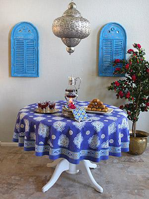 Casablanca Blues ~ Moroccan Style Quatrefoil Round Tablecloth