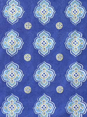 Casablanca Blues ~ Moroccan Blue and White Fabric Swatch
