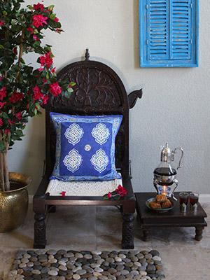 Casablanca Blues ~ Moroccan Theme Style Quatrefoil Cushion Cover
