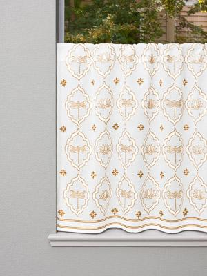 Dragonfly and Lotus ~ White and Gold Kitchen Tier Curtain