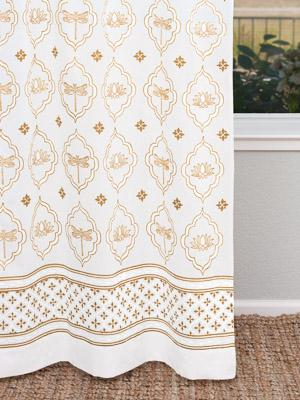 Dragonfly and Lotus ~ White and Gold Curtain Panel