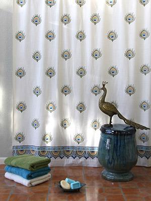 Dance O PeacockIvory Peacock Feather Print India Shower Curtain