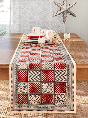 Fete Royale ~ Red Plaid Christmas Holiday Table Runner