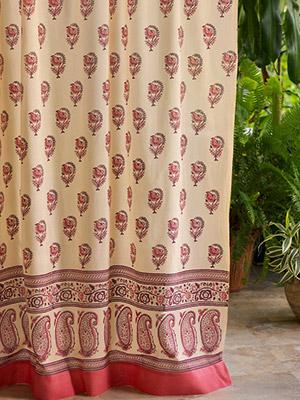 India Rose CP Luxury Pink Floral Indian Sari Print Curtain