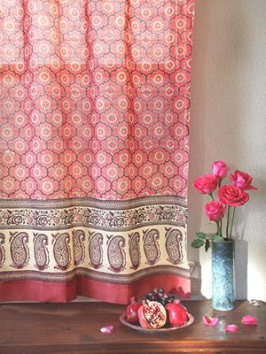 India Rose ~ Pink Floral Bohemian Indian Curtain Panel