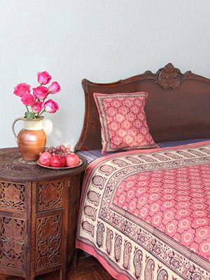 India Rose ~ Floral Trellis Print Pink India Duvet Cover