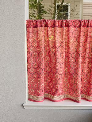 India Rose ~ Luxury Pink Floral Indian Kitchen Curtain