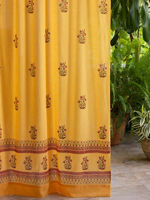 Indian Summer (CP) ~ Orange Paisley India Sari Cotton Curtain