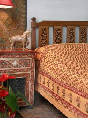 Indian Summer ~ Orange Paisley Exotic Sari Print Bedspread