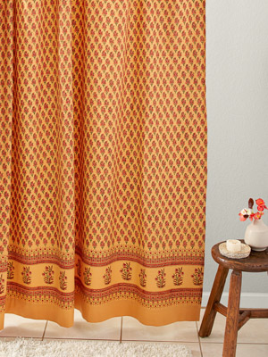Indian Summer ~ Orange Paisley Cotton Gypsy Shower Curtain