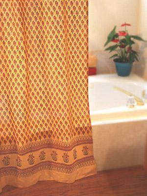 Indian Summer Orange Paisley Cotton Gypsy Shower Curtain