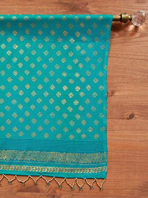 Jeweled Peacock ~ Turquoise Blue and Gold Sari Beaded Valance