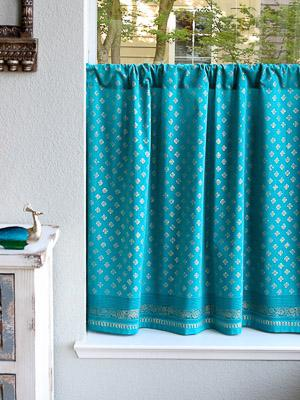 Jeweled Peacock ~Turquoise Blue Gold Kitchen Cafe Curtain