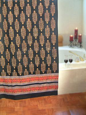 Kilim Noir ~ Black Gold Indian Tapestry Cotton Shower Curtain