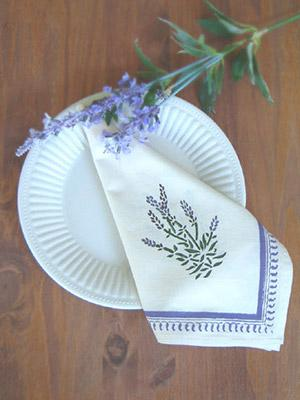 Lavender Dreams ~ White French Provencal Cotton Dinner Napkins