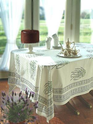 Lavender Dreams ~ French Provencal White Country Table Cloth
