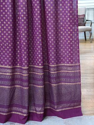Mystic Amethyst ~ Purple Gold Sari India Curtain Panel