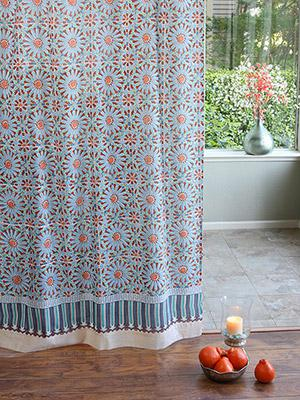 Mosaique Bleue ~ Moroccan Tile Blue Sheer Curtain Panel