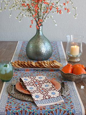 Mosaique Bleue ~ Moroccan Tile Print Rich Cream Dinner Napkin