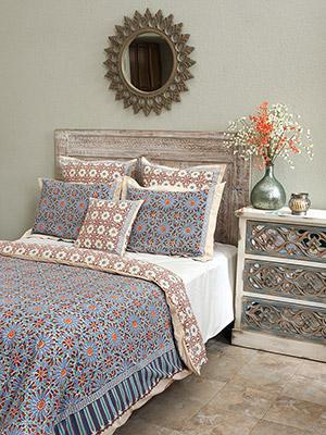 Style Of Mosaique Bleue Moroccan Tile Print Duvet Cover Unique - Simple Elegant indian bed sheets Minimalist