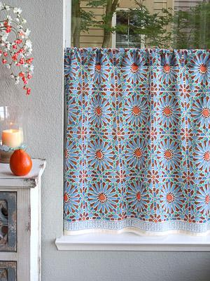 Mosaique Bleue ~ Moroccan Tile Blue Kitchen Curtain