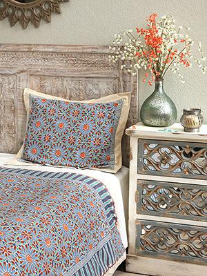 Mosaique Bleue ~ Moroccan Tile Print Blue Pillow Sham