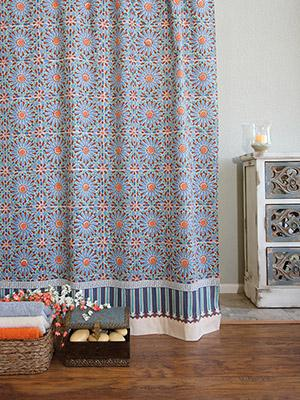 Mosaique Bleue ~ Moroccan Tile Print Blue Shower Curtain