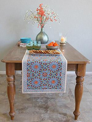 Mosaique Bleue ~ Moroccan Tile Print Blue Table Runner