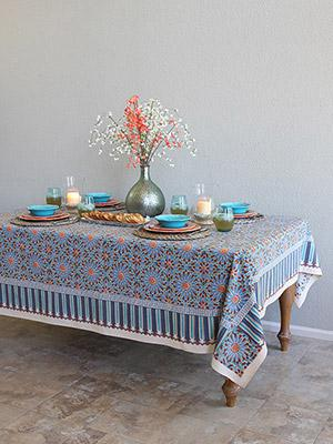 Mosaique Bleue ~ Moroccan Tile Print Blue Tablecloth