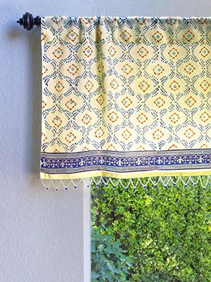 Finest Decorative Designer Elegant Sheer Fabric Beaded Window Valance  DO45