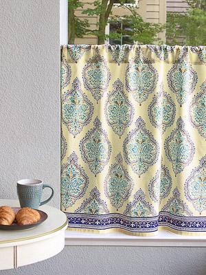 Morning Dew French Country Medallion Yellow Kitchen Curtain
