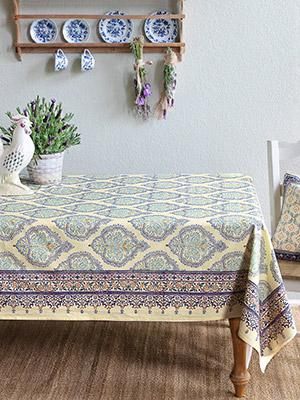 Superbe Morning Dew ~ French Country Provence Yellow Blue Tablecloth