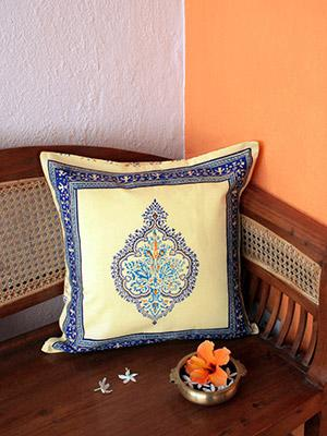 Morning Dew ~ French Country Medallion Yellow Blue Throw Pillow