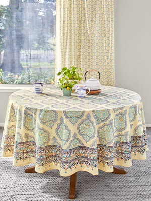 Morning Dew ~ French Country Provence Yellow Round Tablecloth