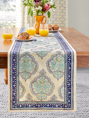 Morning Dew ~ French Country Provence Yellow Blue Table Runner
