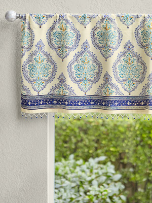 Morning Dew ~ French Country Medallion Yellow Blue Valance