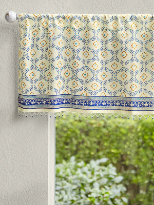 Morning Dew (CP) ~ French Country Trellis Yellow Blue Valance
