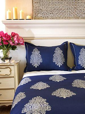 Mood Indigo ~ Modern Navy Blue White Paisley Print Pillow Sham