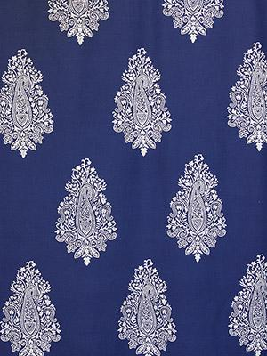 Mood Indigo ~ Modern Navy Blue Fabric Swatch with Paisleys
