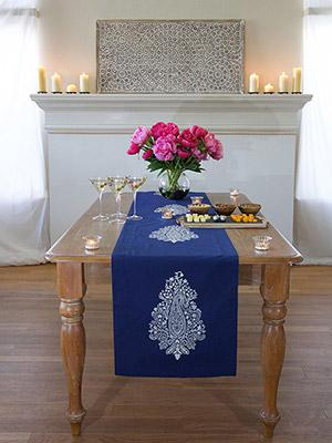 Mood Indigo ~ Modern Navy Blue White Paisley Print Table Runner