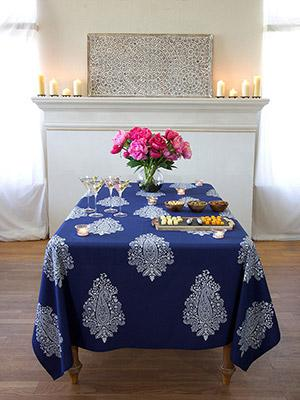 Mood Indigo ~ Modern  Navy Blue White Paisley Print Tablecloth