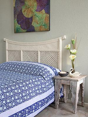 Midnight Lotus ~ Blue Asian Style Oriental Floral Bedspread