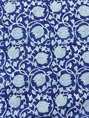 Midnight Lotus ~ Blue and White Fabric Swatch with Asian Styling