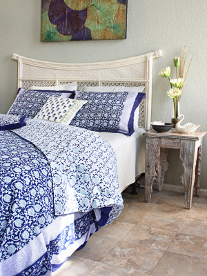 Midnight Lotus ~ Asian White Floral Persian Blue Duvet Cover