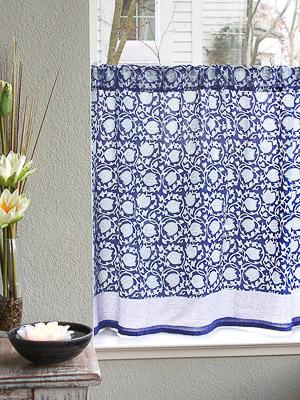 Midnight Lotus ~ Unique Asian Blue Floral Kitchen Curtain